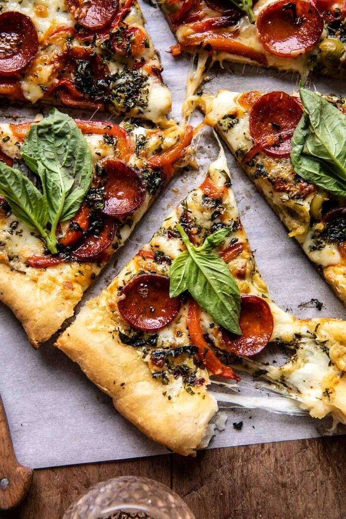 Pesto Pizza with Feta Stuffed Crust | halfbakedharvest.com