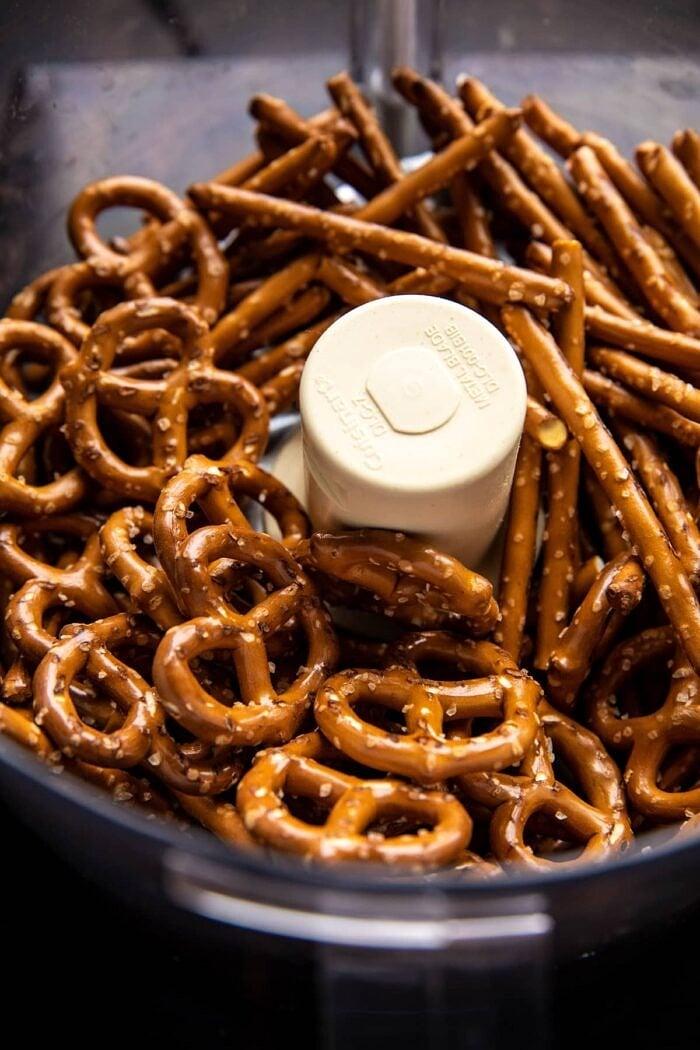 prep photo of pretzels in food processor