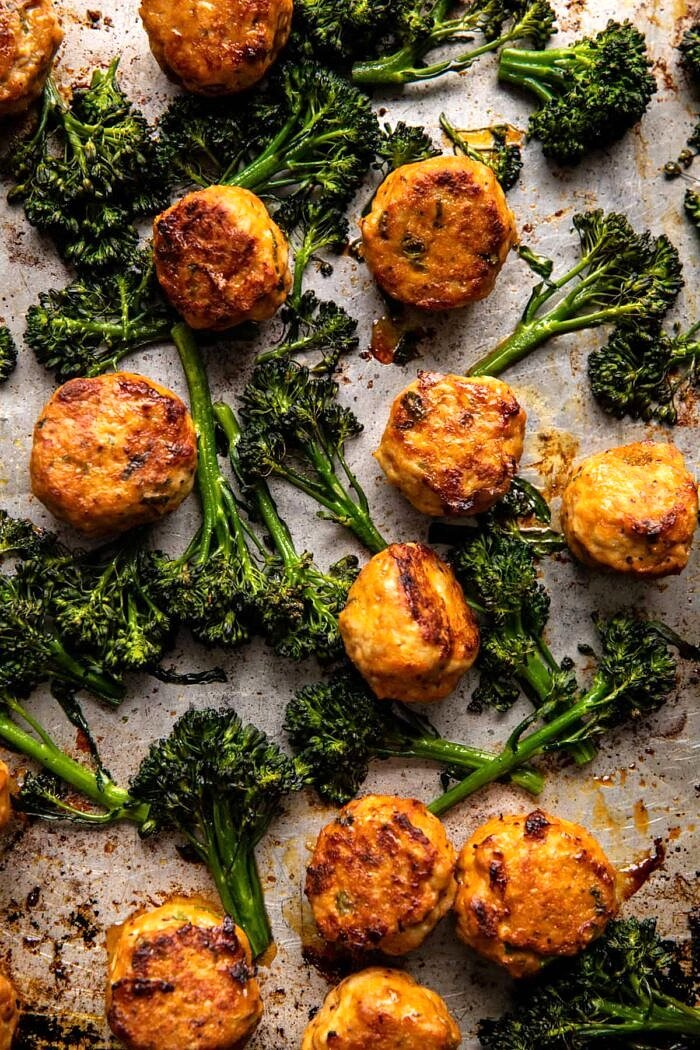 meatballs and broccoli after baking