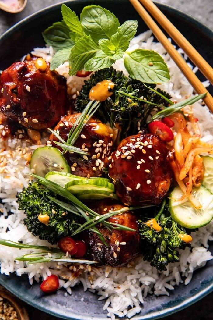 overhead close up photo of Sheet Pan Sticky Korean Chicken Meatballs