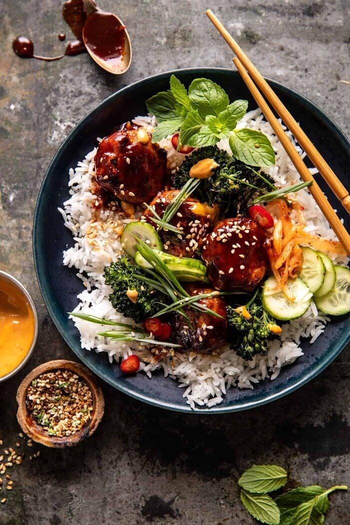 Sheet Pan Sticky Korean Chicken Meatballs | halfbakedharvest.com