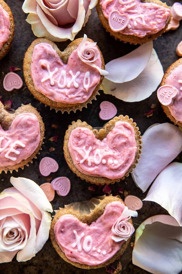 Strawberry Conversation Heart Cupcakes | halfbakedharvest.com