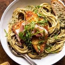 Basil Parmesan Pasta with Crispy Chicken, Prosciutto, and Arugula.