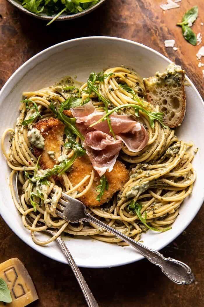 Basil Parmesan Pasta with Crispy Chicken, Prosciutto, and Arugula | halfbakedharvest.com