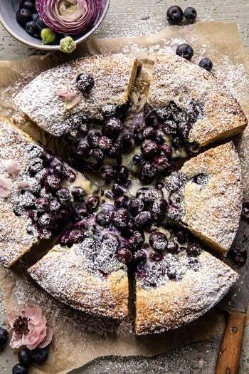 Blueberry Lemon Poppy Seed Custard Cake.
