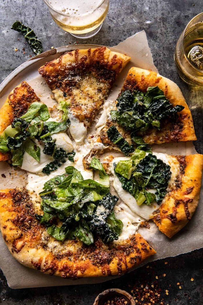 Burrata Caesar Salad Pizza | halfbakedharvest.com