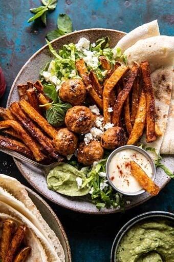 Chicken Meatball Pita Bowls with Seasoned Fries and Feta | halfbakedharvest.com