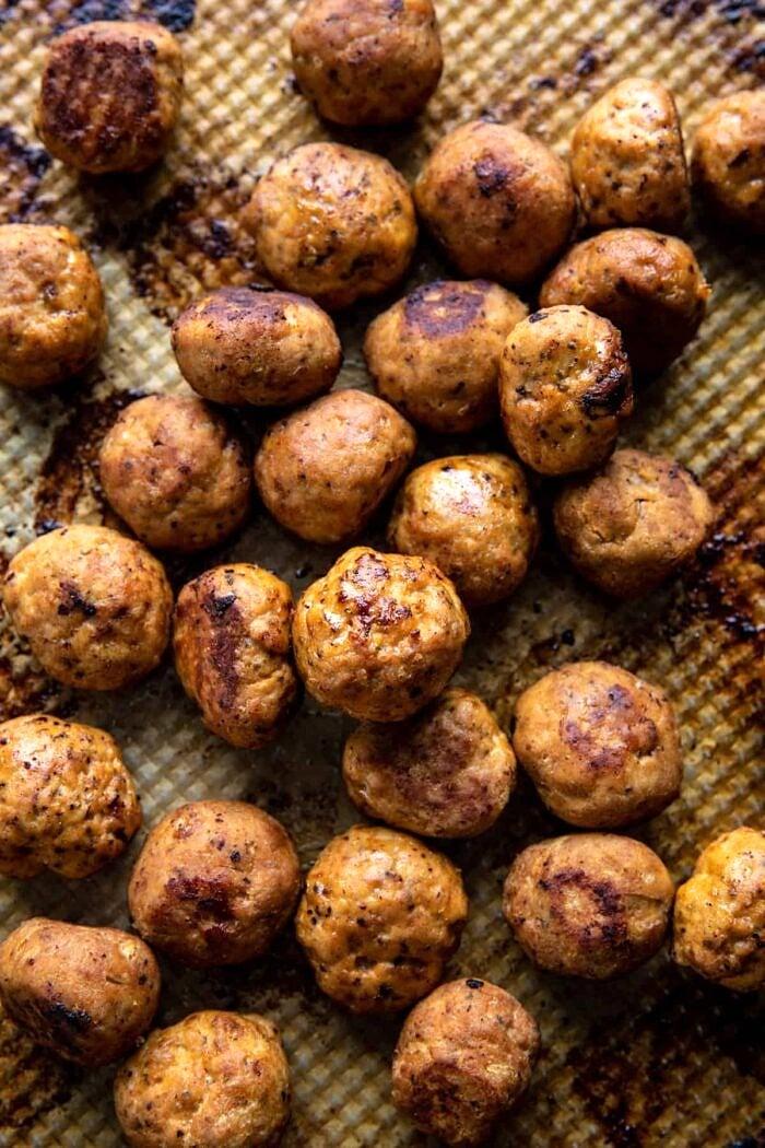 Chicken Meatballs on baking sheet