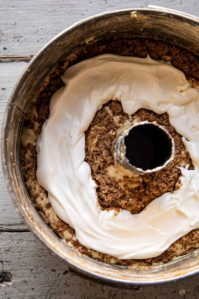 prep photo of Cinnamon Streusel Coffee Coffee Cake before baking