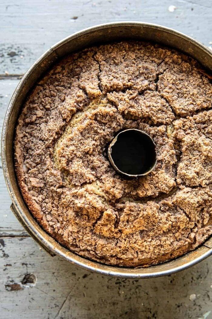 Cinnamon Streusel Coffee Coffee Cake after baking in cake pan