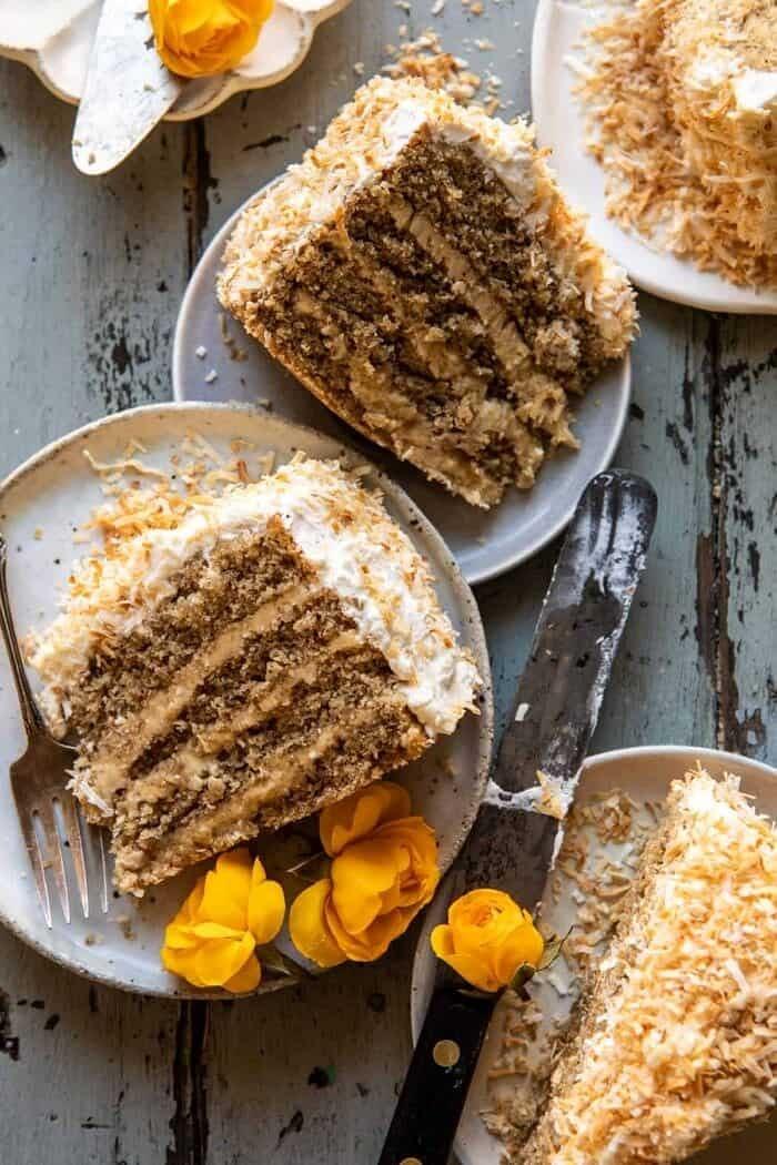 Coconut Pecan Caramel Butter Cake.
