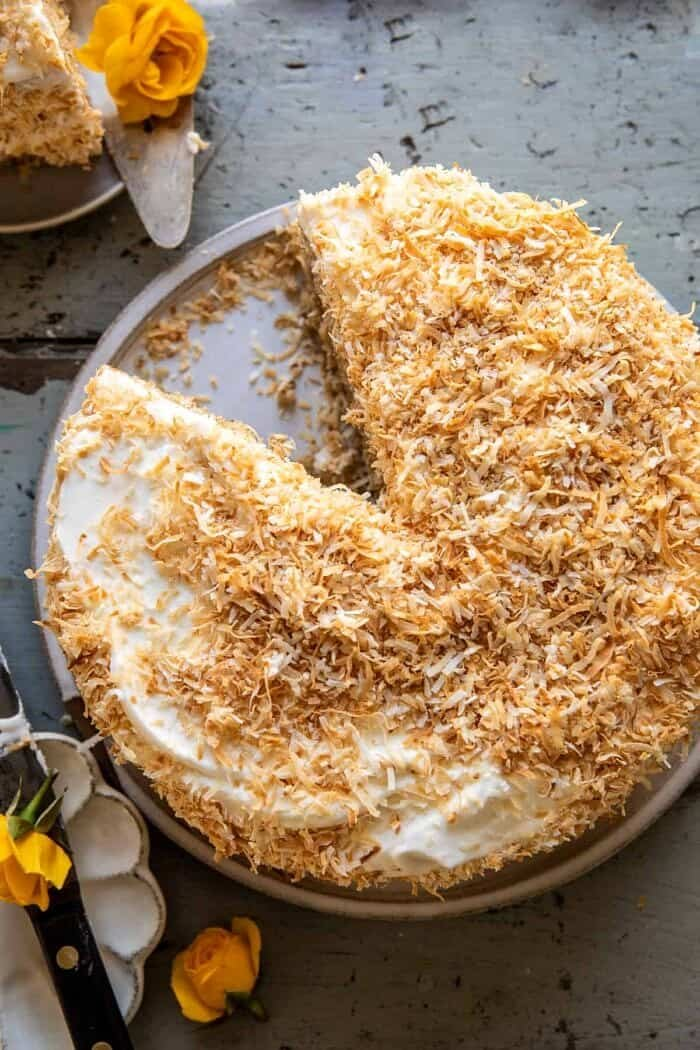 overhead photo of Coconut Pecan Caramel Butter Cake