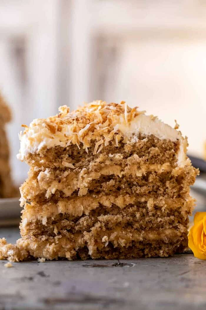 front on photo of Coconut Pecan Caramel Butter Cake slice