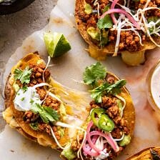Cool Ranch Chicken Tostadadillas with Honey Lime Crema.
