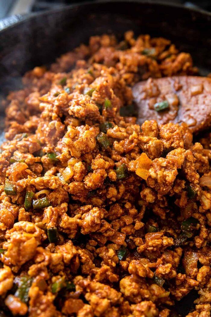 photo of seasoned ground chicken in skillet