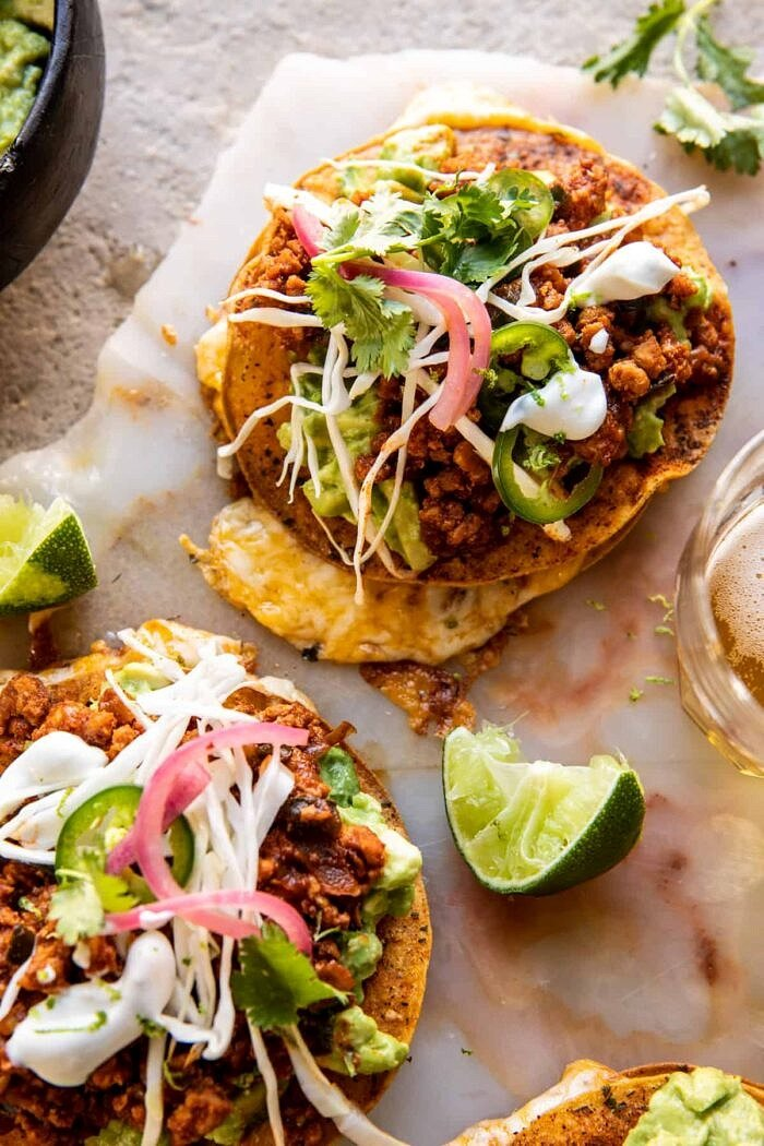 side angled close up photo of Cool Ranch Chicken Tostadadillas with Honey Lime Crema