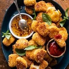 Oven Fried Halloumi Bites with Hot Honey.