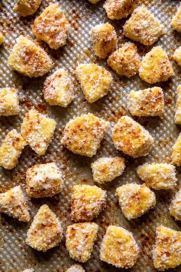 Oven Fried Halloumi Bites before baking