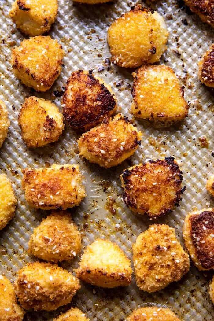 Oven Fried Halloumi Bites after baking on baking sheet