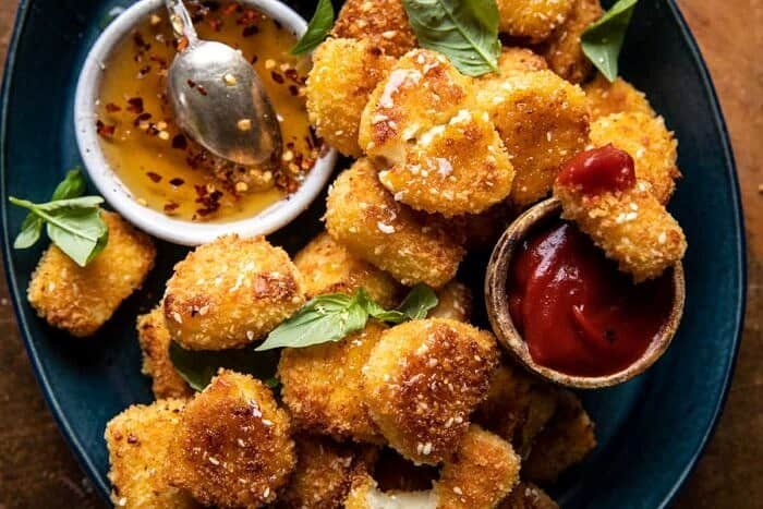 overhead horizontal photo of Oven Fried Halloumi Bites with Hot Honey