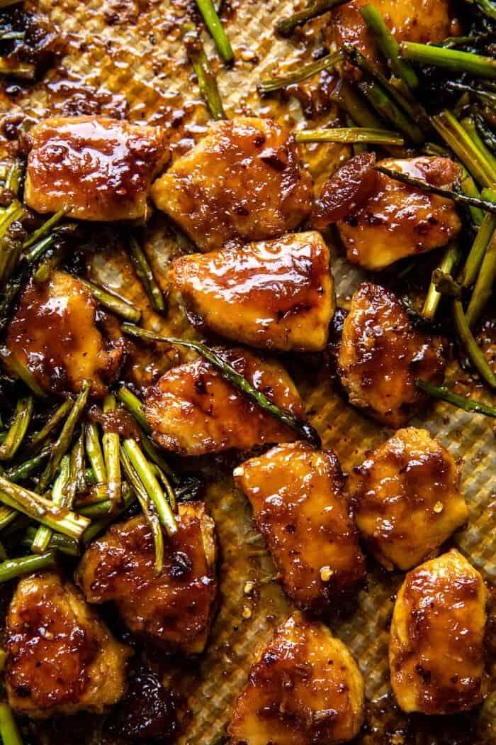 Sheet Pan 30 Minute Sticky Apricot Chicken | halfbakedharvest.com