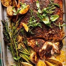 Sheet Pan Lemon Brown Butter Salmon and Potatoes with Parmesan Asparagus.