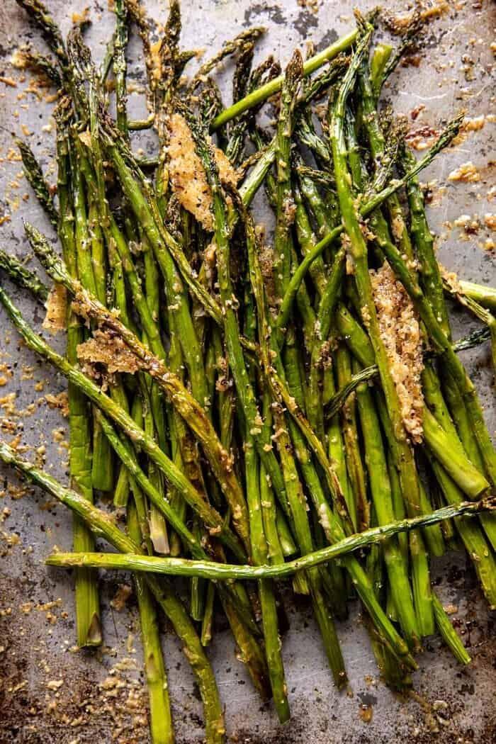 Sheet Pan Lemon Brown Butter Salmon and Potatoes with Parmesan Asparagus | halfbakedharvest.com