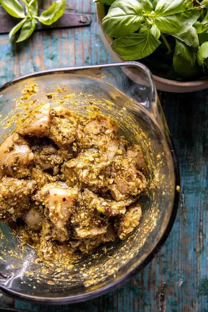 prep photo of pesto chicken in bowl