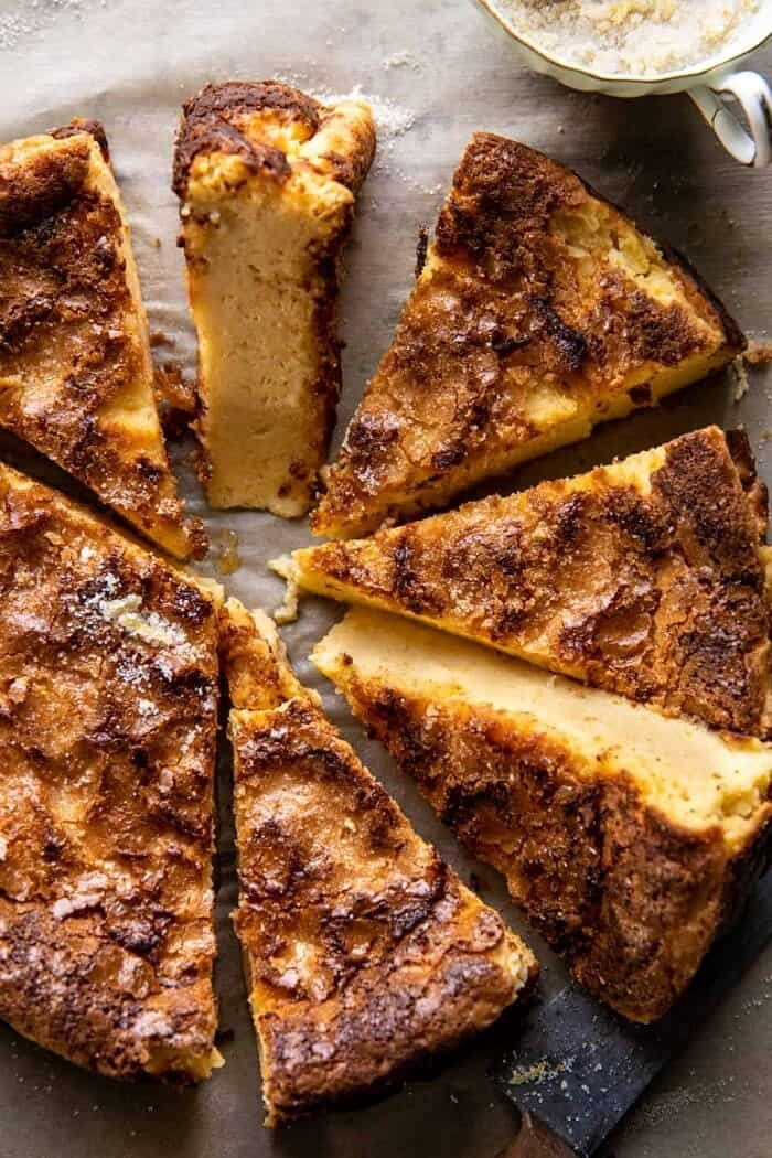 overhead close up photo of Simple Lemon Sugar Burnt Basque Cheesecake