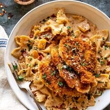 Southern Style Creamy Parmesan Chicken Pasta.