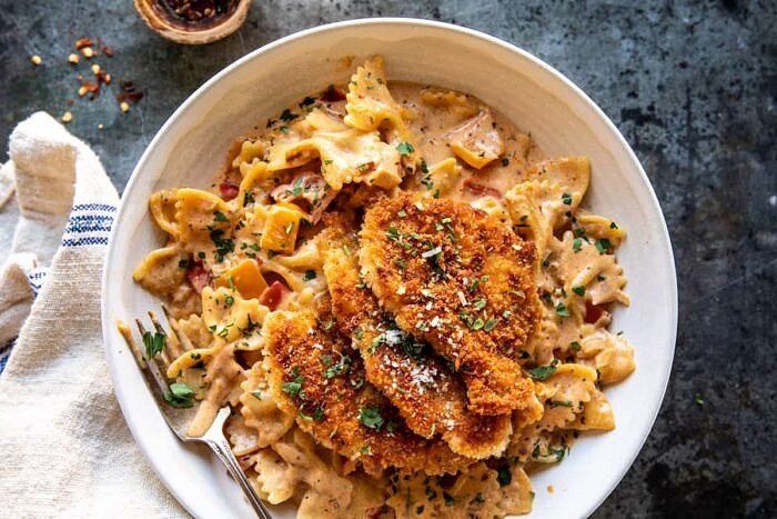 overhead photo of Southern Style Creamy Parmesan Chicken Pasta