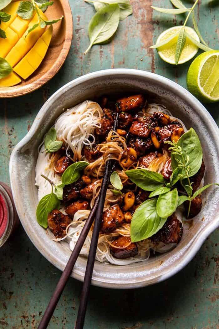 20 Minute Honey Garlic Cashew Chicken and Coconut Noodles | halfbakedharvest.com