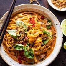 20 Minute Red Curry Noodles with Fried Coconut Garlic.