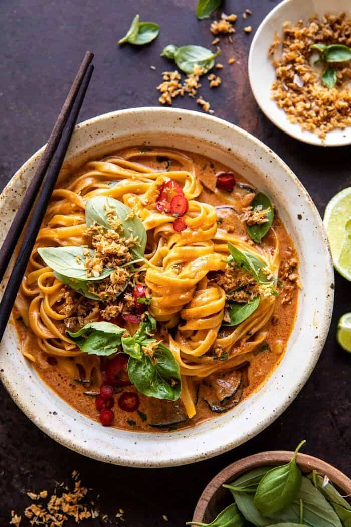 20 Minute Red Curry Noodles with Fried Coconut Garlic | halfbakedharvest.com
