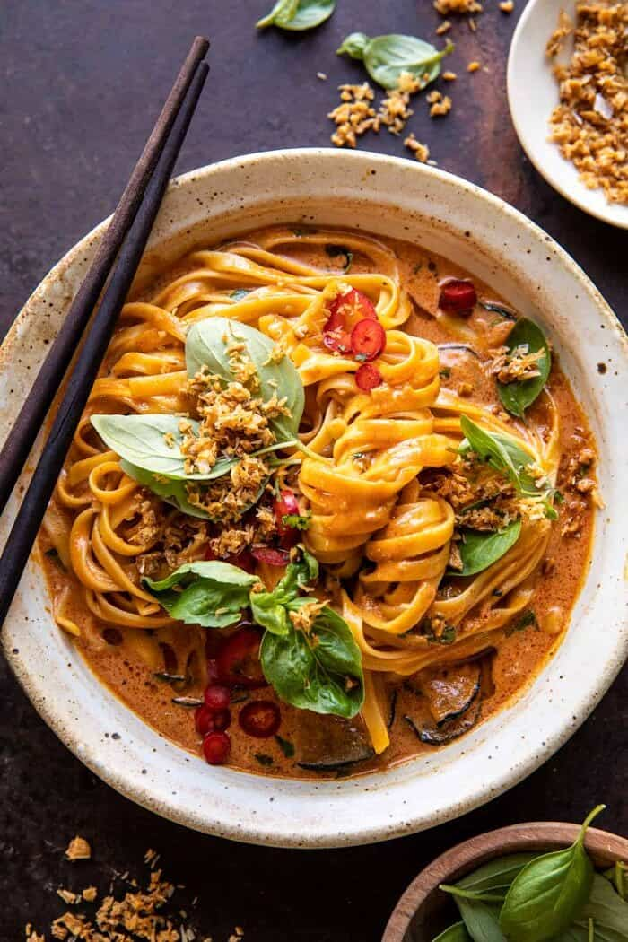 overhead close up photo of 20 Minute Red Curry Noodles with Fried Coconut Garlic