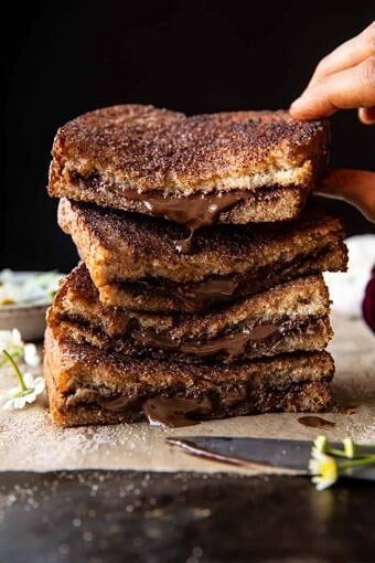 5 Minute Chocolate Cinnamon Sugar Toast | halfbakedharvest.com