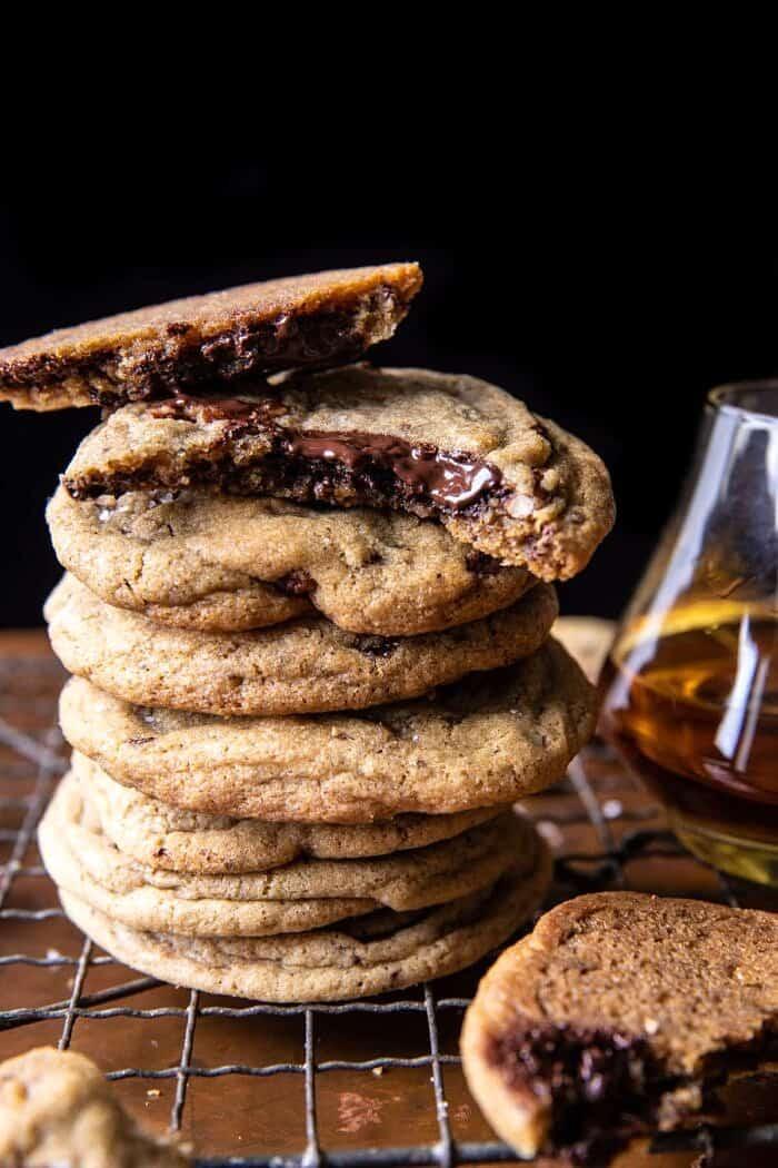 Brown Butter Bourbon Pecan Chocolate Chunk Cookies | halfbakedharvest.com