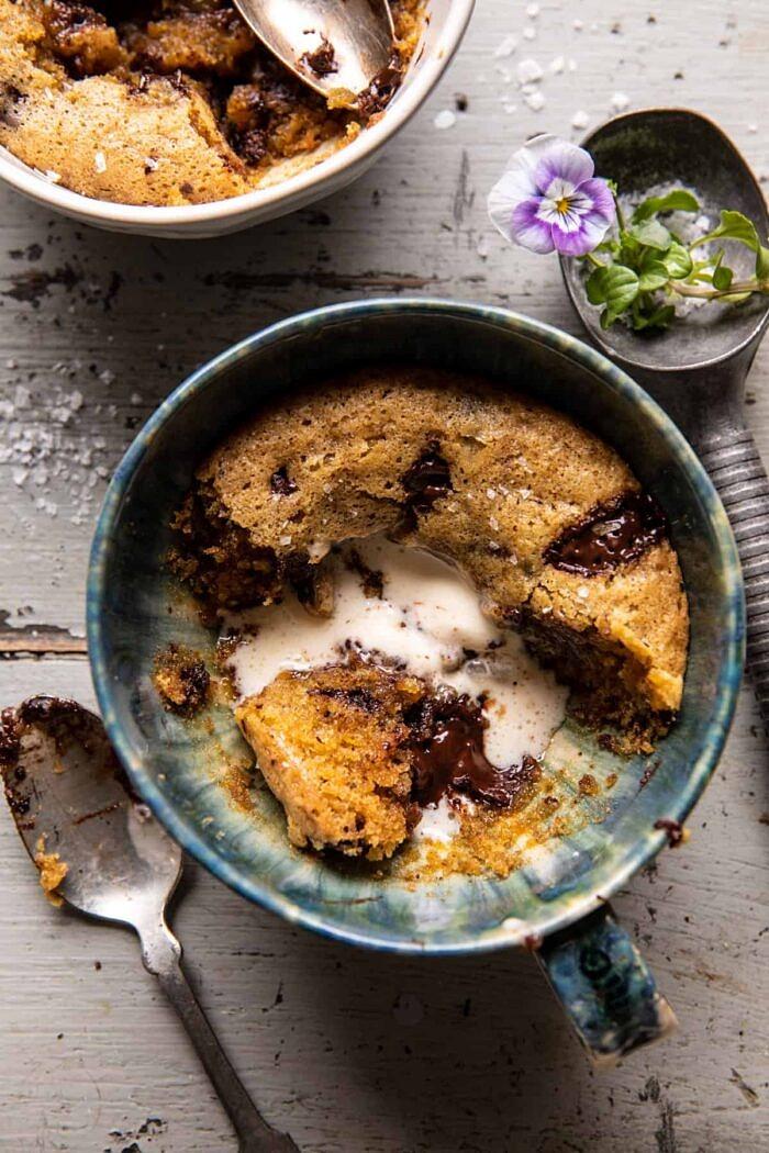 overhead photo of Deep Dish Molten Chocolate Coffee Blondie half eaten