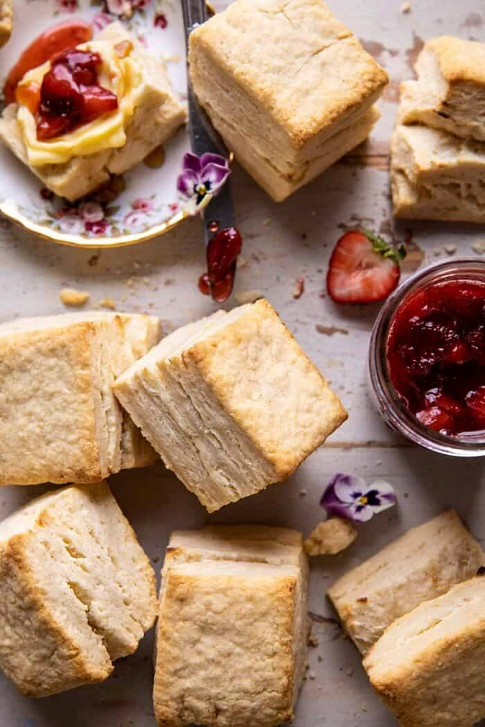Flaky Southern Butter Biscuits with Strawberry Bourbon Jam | halfbakedharvest.com