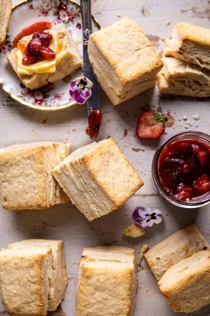 Flaky Southern Butter Biscuits with Strawberry Bourbon Jam