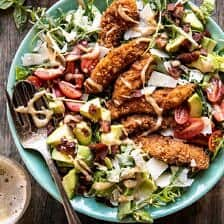 Honey Mustard Pretzel Chicken and Avocado Bacon Salad.