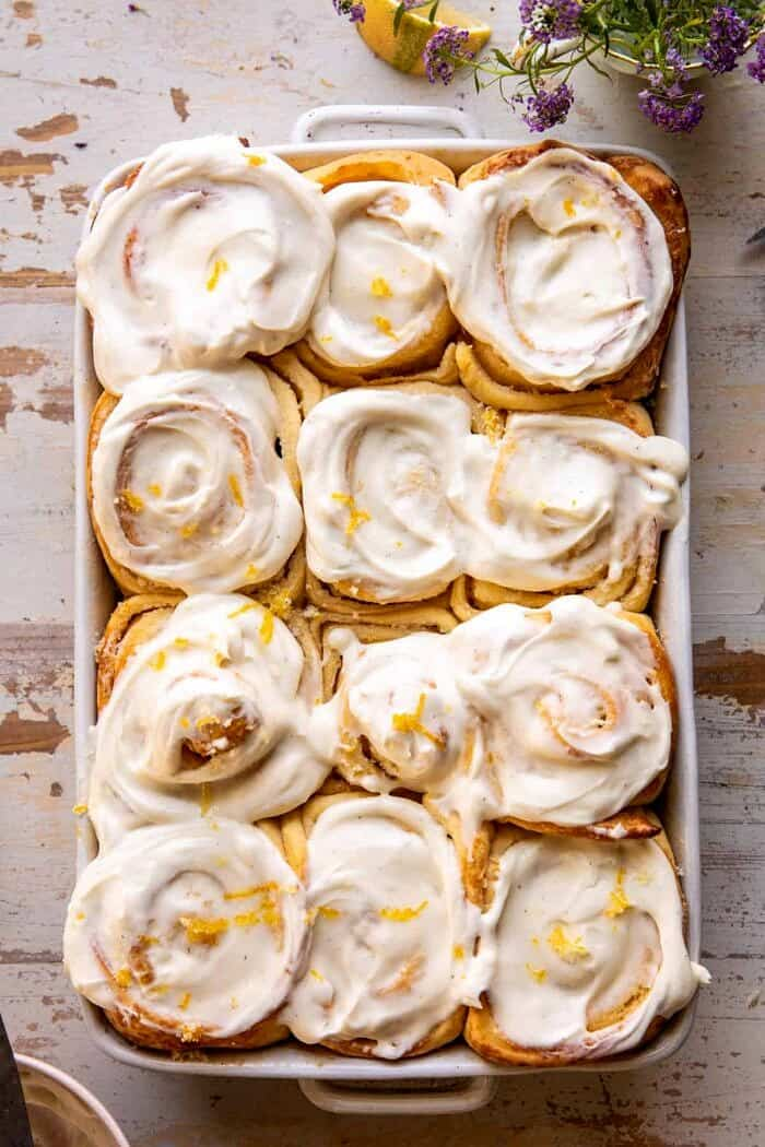 overhead photo of Lemon Sugar Rolls with Vanilla Cream Cheese Icing