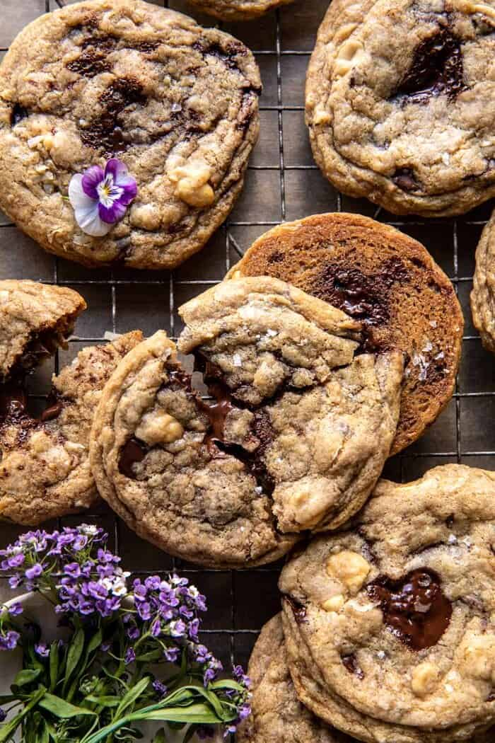 overhead close up photo of Magic Chocolate Chip Cookies