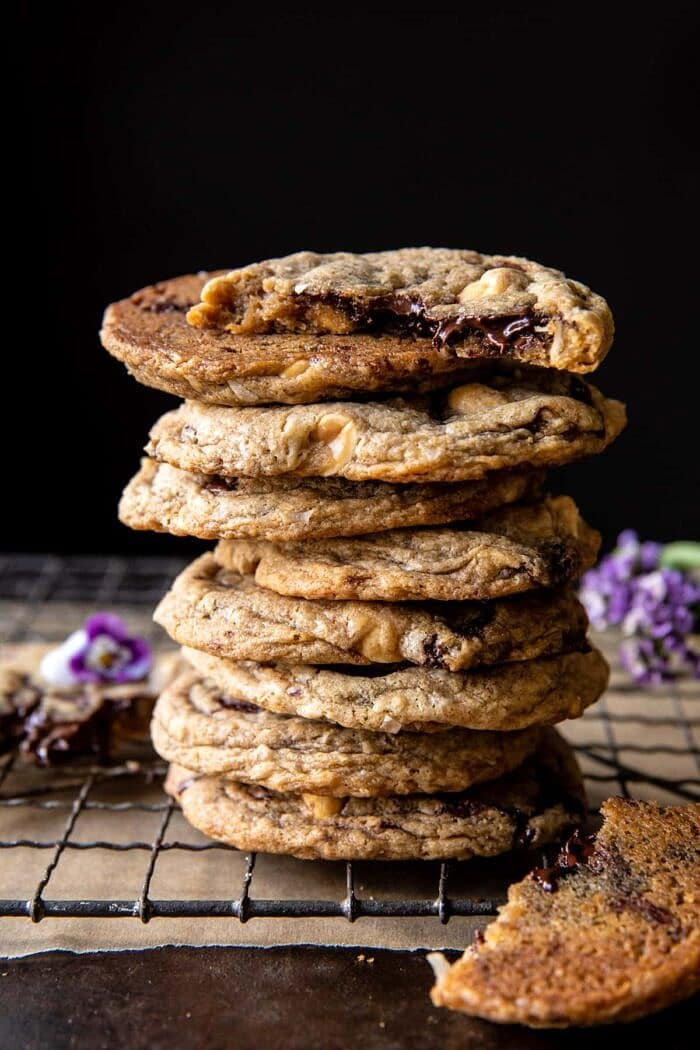 side angled photo of Magic Chocolate Chip Cookie stack
