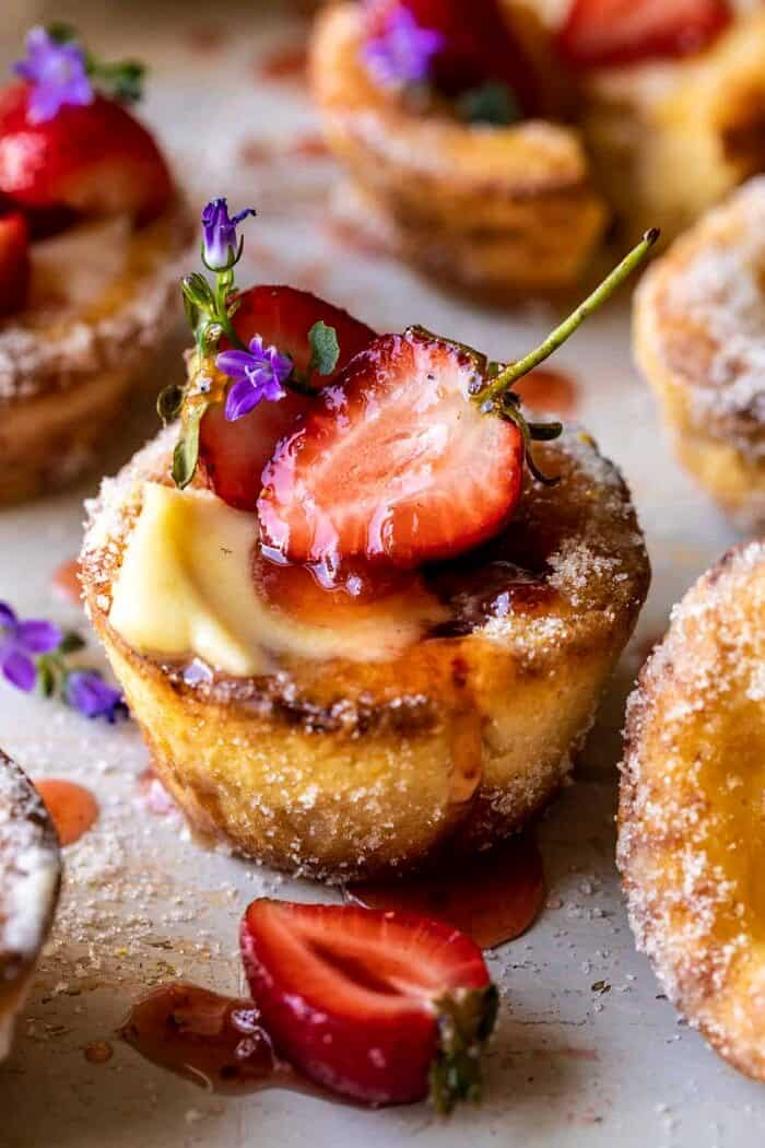 Mini Brown Butter Popovers with Jammy Strawberries | halfbakedharvest.com