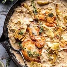 One Skillet Creamy Artichoke Chicken Marsala and Orzo | halfbakedharvest.com