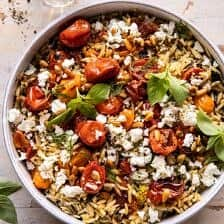Roasted Tomato Basil and Feta Orzo.