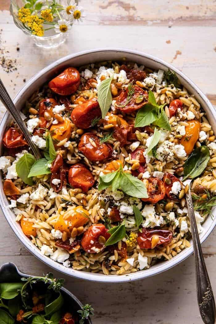 Roasted Tomato Basil and Feta Orzo | halfbakedharvest.com