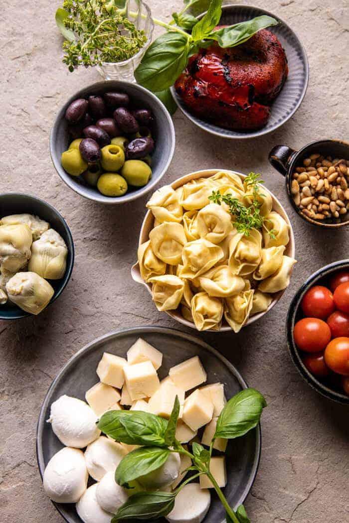 overhead prep photo of Antipasto Tortellini Skewer ingredients