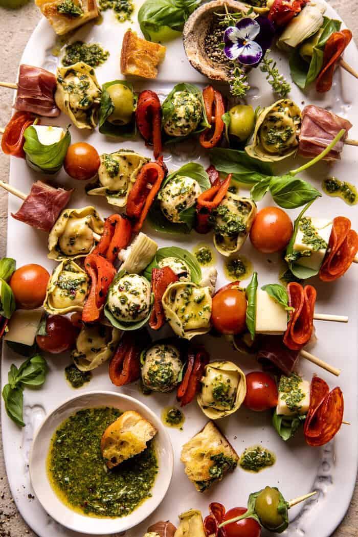 Antipasto Tortellini Skewers with Lemon Basil Vinaigrette